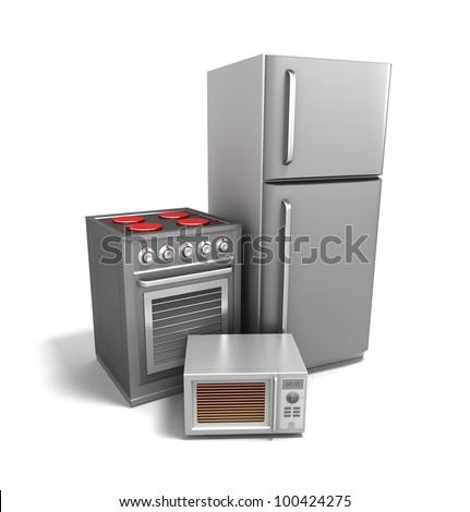 Kitchen electronics over white. My own design - stock photo