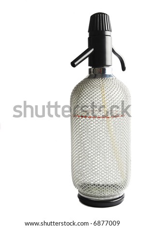 Kitchen equipment that was used to make soda water (carbonated water) mainly for spritzer (a cocktail made with white wine and soda water) - stock photo