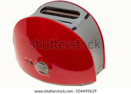 Kitchen equipment.Toaster for bread isolated on white background,Side view.