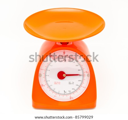 kitchen food scale isolated on white background - stock photo