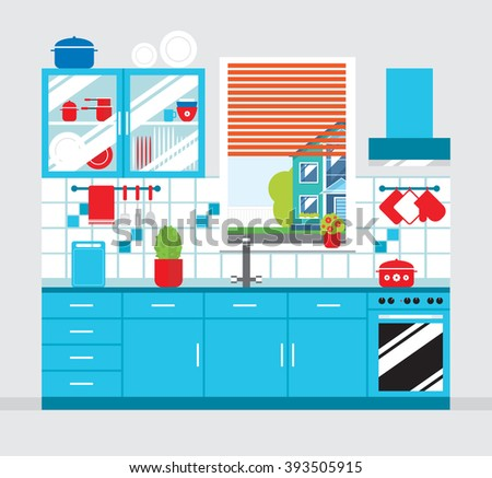 Kitchen furniture blue, kitchen interior in flat style.