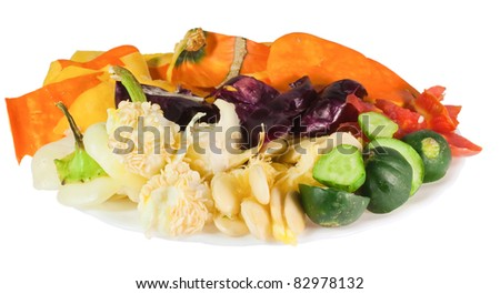 Kitchen garbage isolated on a white background - stock photo