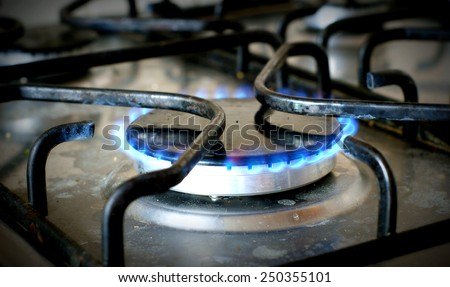 Kitchen gas oven withe fire - stock photo