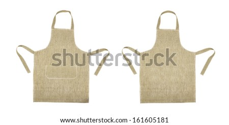 Kitchen gray apron. Front and back view. Isolated on a white background - stock photo