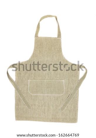 Kitchen gray apron. Isolated on a white background. - stock photo