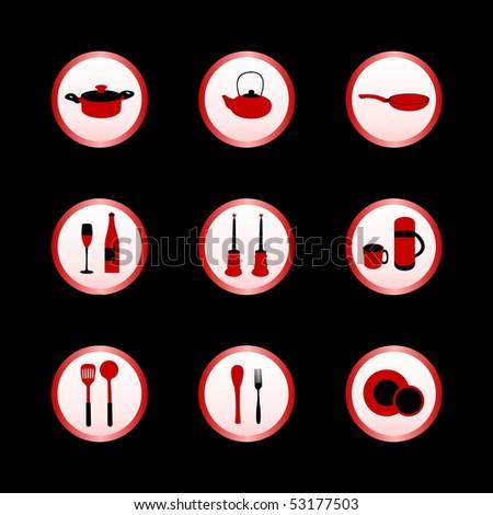 Kitchen icon set - Raster - stock photo