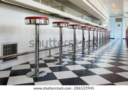 kitchen in a american diner restaurant - stock photo