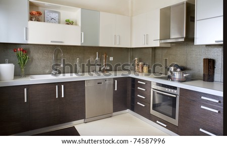kitchen in a showroom - stock photo