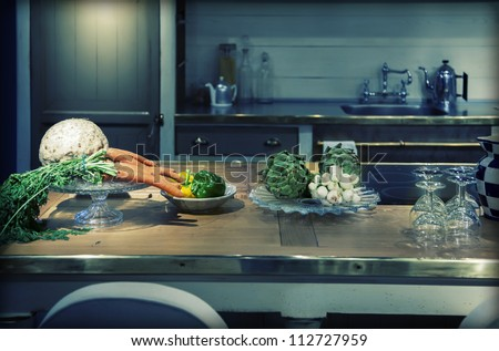 kitchen  in country style and vegetables - stock photo
