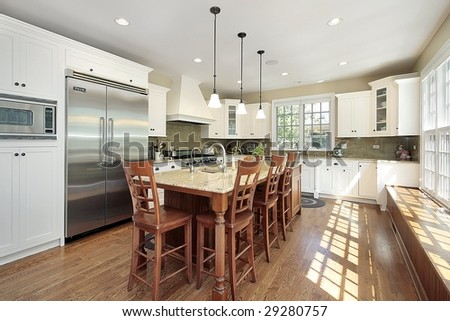 Kitchen in luxury home with island