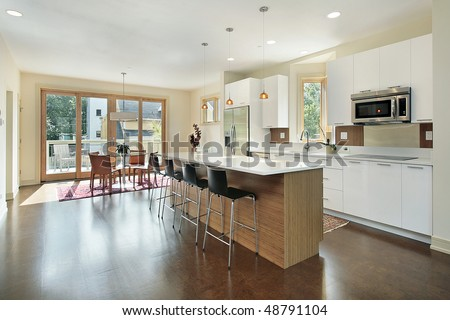 Kitchen in luxury townhome with eating area