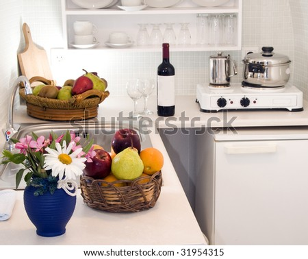 kitchen in maisonette apartment in the greek islands santorini town of oia cave house - stock photo