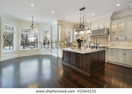 Kitchen in new construction home - stock photo
