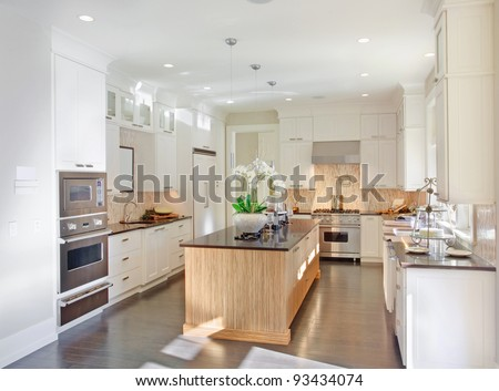 Kitchen in New Luxury Home - stock photo
