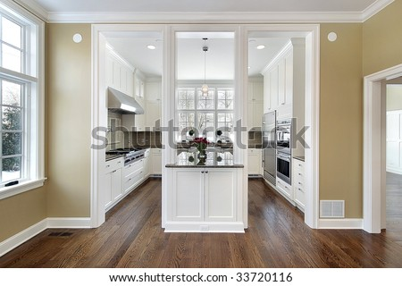 Kitchen in new modern home - stock photo