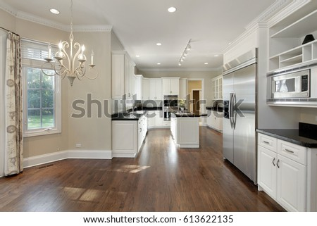 Kitchen in suburban home with eating area.