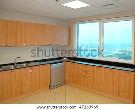 Kitchen in the apartment of luxury hotel, Dubai, United Arab Emirates - stock photo