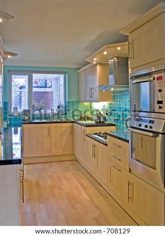 Kitchen in UK luxury home 2 - stock photo
