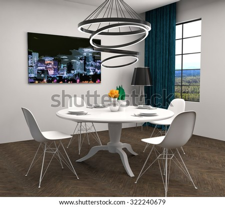 Kitchen in white and brown floor. 3d illustration