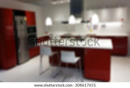 kitchen interior blurred background - stock photo
