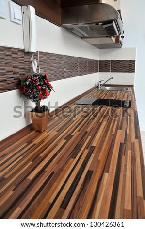 kitchen interior close up - stock photo