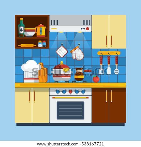 Kitchen Interior Concept Illustration Cooking Flat Symbols Design Set