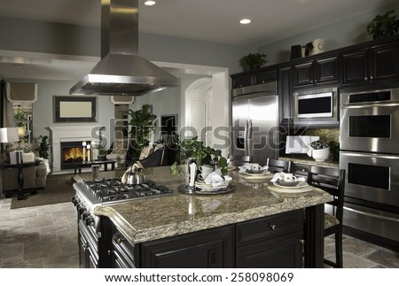 Kitchen Interior Design Architecture Home House Contemporary Kitchen Interior Architecture Stock Images,New Homes, Living room, Bathroom,Kitchen,Bed room, Office, Interior exterior photography.  - stock photo