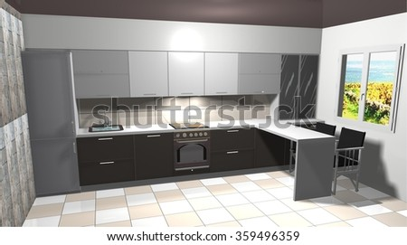 kitchen, interior design 3D rendering illustration