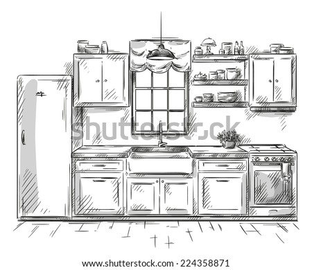 Set four hand drawn cartoon fridges stock vector 210038731 for Kitchen set drawing