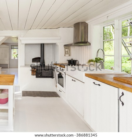 kitchen interior in a country-house - stock photo