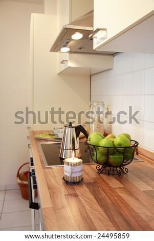 Kitchen interior in family house in white - stock photo