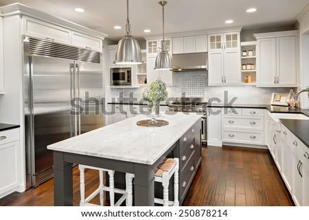 stock kitchen cabinets. kitchen interior in new luxury home Kitchen Interior New Luxury Home Stock Photo 250878214  Shutterstock