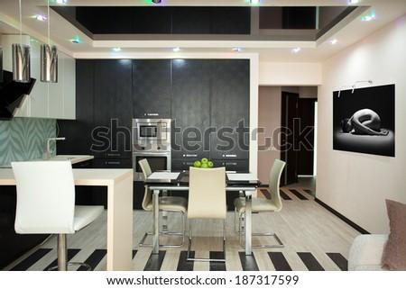 Kitchen interior. Kitchen in modern style - stock photo