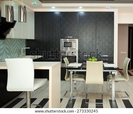 Kitchen interior. Kitchen in modern style - stock photo