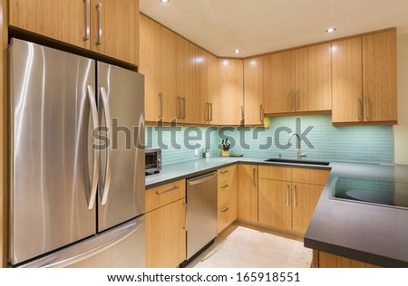 Kitchen Interior, Modern Design Architecture, Luxury Home - stock photo