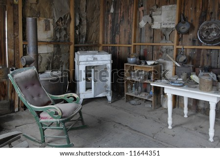 Kitchen  interior of a turn of the century two room house in a central Nevada ghost town. - stock photo