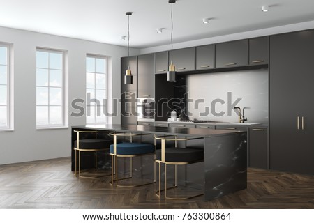 Kitchen Interior With A Wooden Floor, Black Marble Countertops And Black  Cupboards With Built In