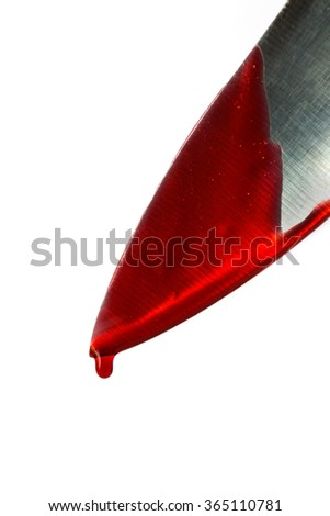 Kitchen knife dripping blood on white