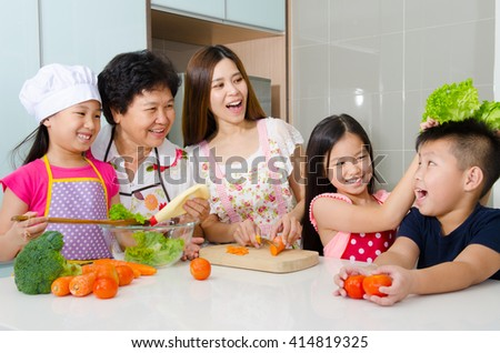 Kitchen lifestyle of asian three generations family