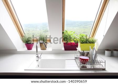 kitchen loft room - stock photo