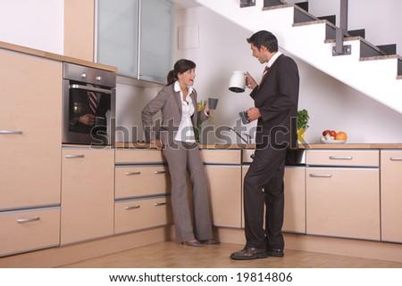 kitchen meeting - stock photo
