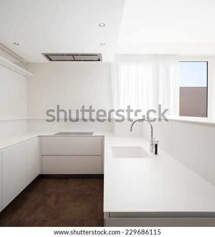 kitchen, minimalism, white,  - stock photo