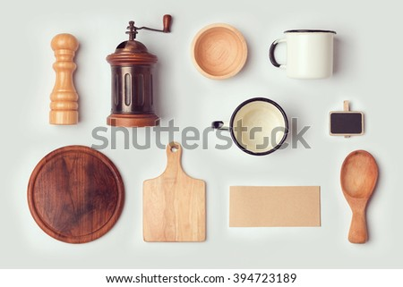 Kitchen mock up template with retro vintage objects. View from above. Flat lay