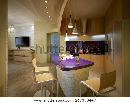 kitchen modern style, 3d render