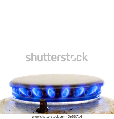 kitchen oven burning gas isolated on white - stock photo