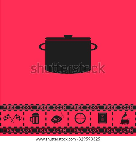 Kitchen pan. Black flat illustration pictogram and bonus icon - Racing flag, Beer mug, Ufo fly, Sniper sight, Safe, Train on pink background - stock photo