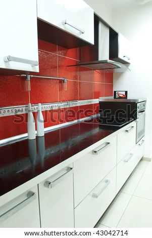 kitchen red - stock photo
