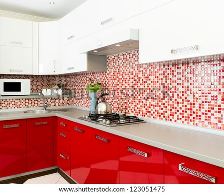 Kitchen red and white colors - stock photo