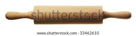 kitchen rolling pin isolated over white background - stock photo
