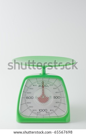 Kitchen scale on a white background - stock photo